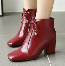 Women's Ankle Boots Block Heel Square Toe Shoes Outdoor Fashion Bowtie Ladies