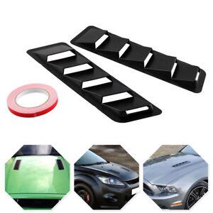 """2X 16.7"""" x 4.5"""" Universal Hood Vent Louver Cooling Panel Matte Black ABS Bonnet"""