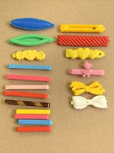 VINTAGE CHILDS GIRLS COLORED BARRETTES 70's PLASTIC & Metal HAIR CLIPS Lot