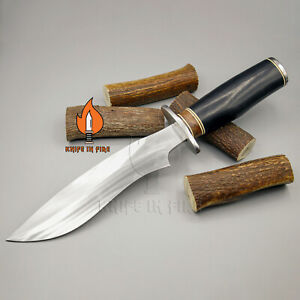 CUSTOM HANDMADE D2 STAINLESS STEEL FIXED BLADE HUNTING KNIFE CAMEL BONE KIF-608.