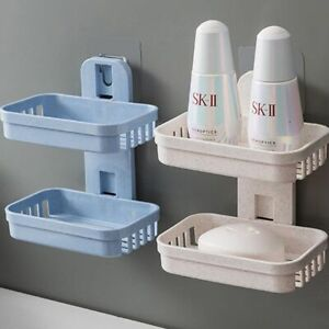 Soap Dishes Plastic Holder Bathroom Suction Cup Wall Mounted Storage Double Rack