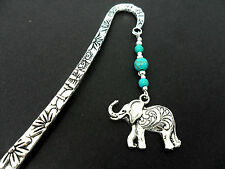 A TIBETAN SILVER ELEPHANT & TURQUOISE  BEAD   BOOKMARK. NEW.