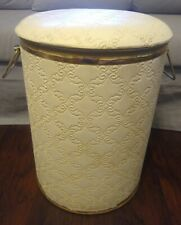 "Vintage Quilted Pattern Gold Trimmed Metal Laundry Hamper With Handles 15"" x 19"""