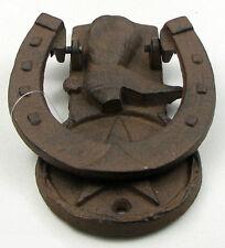 Cowboy Boot Horse Shoe Door Knocker, Cast Iron Rustic Metal Look, Western Decor