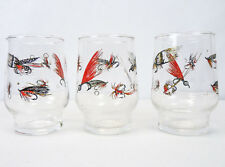 """Set 3 Vintage FLY FISHING Fishing Lures Print Small Juice Drinking Glasses 3.5"""""""