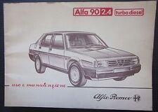 1984 ALFA ROMEO 90 2.4 Turbo Diesel manuale originale uso e manutenzione