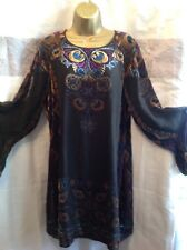 BEAUTIFUL VINTAGE SILK/MIX DEVORE DRESS SIZE L, FULLY LINED, LONG SLEEVED. VGC
