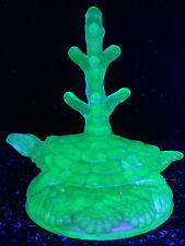 Blue Vaseline glass Turtle ring holder tree uranium cobalt tortoise jewelry glow