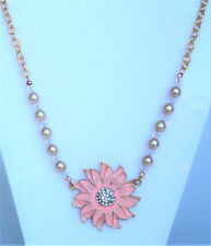 Pink flower enamel effect and glass pearl necklace in gold tone 45-49cm