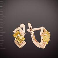 Russisches Gold Rose Rotgold 585 Ohrringe mit Citrin Neu Glänzend. 2.35g