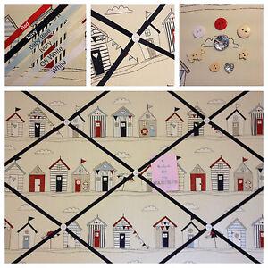 Custom Hand Made Fryetts Beach Huts Fabric Pin/Memo/Notice Board Cork SMl LG XL