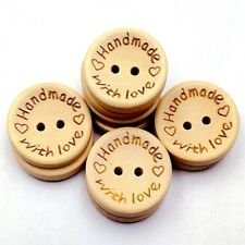 Handmade Button Sewing Wood Buttons Hand Made With Love Scrapbooking DIY