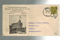 1929 Manila Philippines Cover to Czechoslovakia Chaco Building Illustrated
