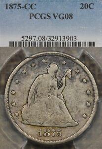 1875-CC 20C PCGS VG08 Twenty Cent Piece, Carson City