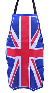 Adults Red White Blue Union Jack Flag Apron Cotton BBQ Cooking London England