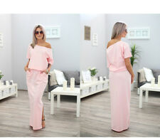 UK Womens One Shoulder Summer Split Long Ladies Party Beach Casual Maxi Dress XXXXS Pink