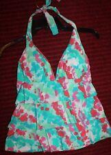 KIM ROGERS S Swim Tankini Halter Bathing Top Blue/Pink Abstract Print Ruffle