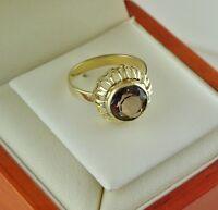 Damen-Ring mit Rauchquarz / 333er - 8 Karat Gelbgold / Gr. 55 (17,5 mm Ø)