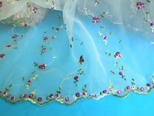 "52"" Wide Lace Organza  Fabric with Embroidery Flowers and Scalloped Edge"