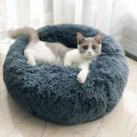Plush Pets Dog Cat Calming Bed Round Warm Nest Multicolor Pet Sleep Beds Cushion