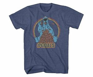 Sesame Street Cookie Monster Cookie Goals Navy Heather Men's Graphic T-Shirt New