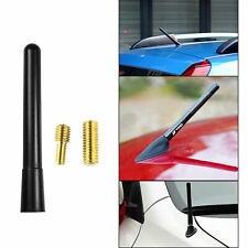Black Short Sporty Screw Type Aluminum AM/FM Radio Antenna Universal For Cars
