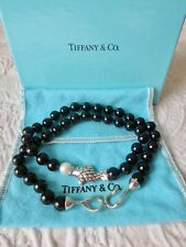 Tiffany & Co 18k Gold 925 Sterling Silver Onyx Pearl Fish Pendant Necklace 18.5""