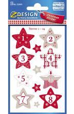 """Sticker """"Adventskalenderzahlen Sterne 1- 24"""", rot, grau, weiß, Aufkleber"""