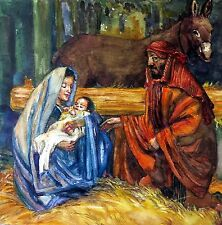 """Original art """"Holy Night 2"""" by Qi Debrah,Watercolor,Religious,Size9""""x9""""Signed,US"""