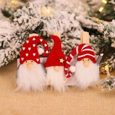 Christmas Santa Wooden Cartoon Clip Christmas Decor New Year Decor Xmas Gift