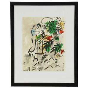 Marc Chagall Poster for the City of Vence Offset Lithograph Print 8.5x11 Framed