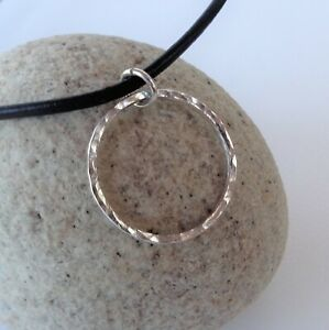 Circle Hammered Pendant 925 Sterling Silver Minimal Leather Necklace