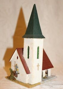 Vintage church for Model Train displays Marked Germany wood Mica