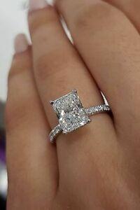2.10 Ct Radiant Cut Diamond w/ Under Halo Pave Engagement Ring Set H VS2 18K GIA