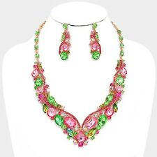 LUXE Whimsical Gold Pink Peridot Crystal Cocktail Necklace Set By Rocks Boutique