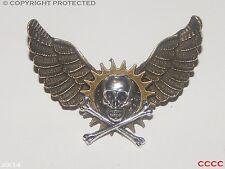 Steampunk brooch badge pin owl wings skull & crossbones pirate Harry Potter