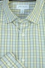 John W.Nordstrom Uomo Grigio Giallo Quadri Cotone Camicia Casual L Large