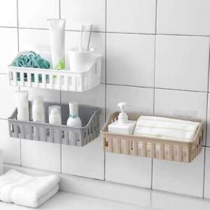 Bathroom Kitchen Shelf Suction Cup Rack Organizer Storage Basket NW Wall E5F6