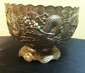 RARE ANTIQUE ASIAN MEIJI DRAGON BOWL-INTRICATE DESIGN, SILVER ON COPPER/BRONZE!!