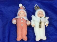 2 Christmas Ornaments Baby Bunny Suit Babies Fleece Snow 25646