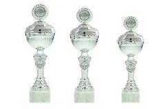 3 Pokale silber Höhe 27 - 30cm  inklusive Schilder und 50mm Sportembleme