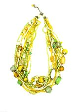 Gorgeous Yellow Green Glass Beads Lampwork Strands Necklace & Earrings Pierced