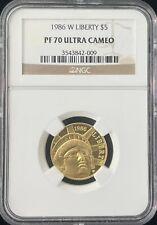 1986 W Liberty $5 Dollar Gold Coin NGC PF 70 Ultra Cameo