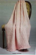Cabled Afghan KNITTING PATTERN Plymouth 1545 PATTERN ONLY