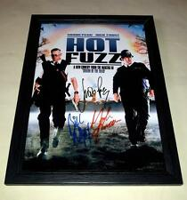 """HOT FUZZ CAST X3 PP SIGNED & FRAMED 12""""X8"""" POSTER SIMON PEGG NICK FROST"""