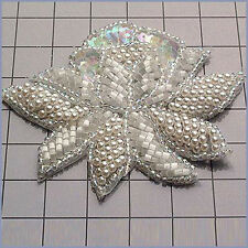 CRYSTAL IRIS PEARL FLOWER SEQUIN BEADED APPLIQUE 0234-A