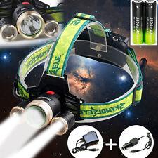 36000Lumen Headlamp CREE 3xT6 LED Headlight 18650 Battery Light Charger USA OE