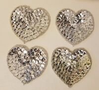 """Lot of 4 Vintage Silver 2"""" Small Heart Beaded Sequined Appliques Sew On Crafts"""