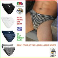 MENS FRUIT OF THE LOOM CLASSIC BRIEFS - 100% cotton 3 PACK Underwear Boxers Slip