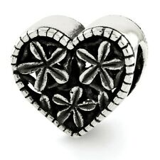 Flowers & Heart Bead .925 Sterling Silver Antiqued Finish Reflection Beads